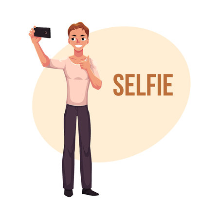 Man making selfie, photo of himself with smartphone, showing thumb up, cartoon vector illustration isolated on white background. Full length portrait of young man in making selfie with mobile phone