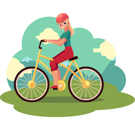 Young pretty blond woman, girl riding a bicycle, cycling, cartoon vector illustration . Full length, side view portrait of young long haired woman riding a bicycle, cycling in countryside,