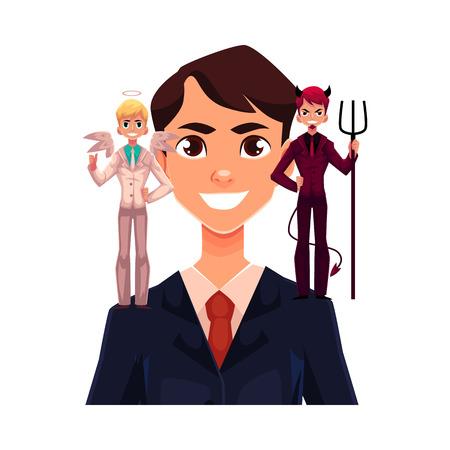 Geschäftsmann mit Engel und Teufel auf seinen Schultern, Entscheidungsfindung Konzept, Cartoon Vektor-Illustration isoliert auf weißem Hintergrund. Mann versucht, Entscheidung zu treffen, die Wahl, Engel und Dämon zu hören Standard-Bild - 76867708