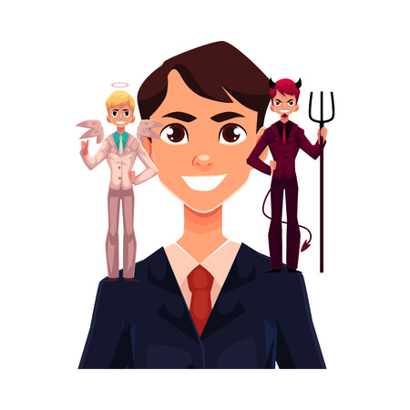 Business man with angel and devil on his shoulders, decision making concept, cartoon vector illustration isolated on white background. Man trying to make decision, choice listening to angel and demon Vettoriali