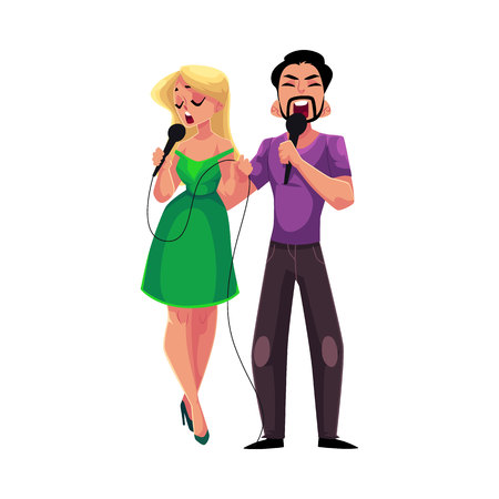 Man and woman singing duet into microphones, karaoke party, contest, competition, cartoon vector illustration isolated on white background. Two karaoke singers, man and woman, singing together Ilustração