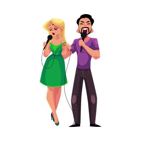 Man en vrouw zingen duet in microfoons, karaoke partij, wedstrijd, concurrentie, cartoon vectorillustratie geïsoleerd op een witte achtergrond. Twee karaokezangers, man en vrouw, die samen zingen