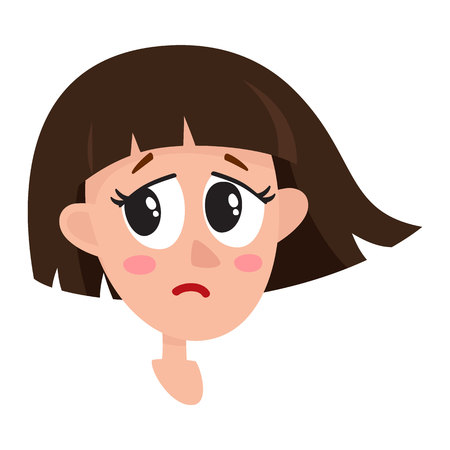 Pretty dark brown hair woman, crying facial expression, cartoon vector illustrations isolated on white background. Beautiful woman crying, shedding tears, sad, heart broken, in grief.