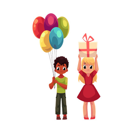 Black boy with bunch of balloons and blond girl holding birthday gift, cartoon vector illustration isolated on white background. Two kids, boy and girl, celebrating birthday, holding balloons and gift