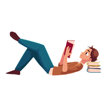 Jonge man, jongen leesboek liggend op de vloer, zijaanzicht cartoon vectorillustratie geïsoleerd op een witte achtergrond. Volledig lengteportret van de mens, kerel die met een boek, het lezen ligt Stock Illustratie