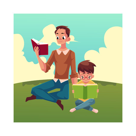 interesting: Young man and little boy reading books sitting legs crossed on the grass, cartoon vector illustration isolated on white background. Man and boy, father and son reading thick interesting books, sitting