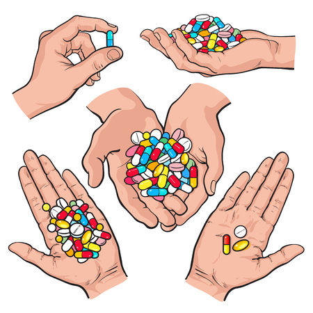 doctor tablet: Set of hands holding colorful pills, tablets, sketch style vector illustration on white background. Hand drawn hands holding piles of multicolored pills, capsules, tablets in open palm, by two fingers Illustration