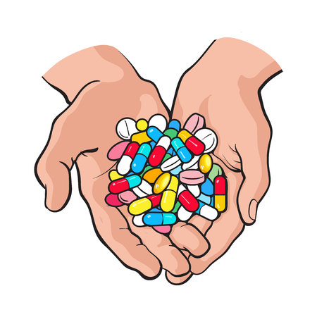 Two cupped hands holding handful, pile of colorful pills, tablets, medicine, sketch style vector illustration on white background. Drawing of cupped hands holding handful, pile of pills, medicine