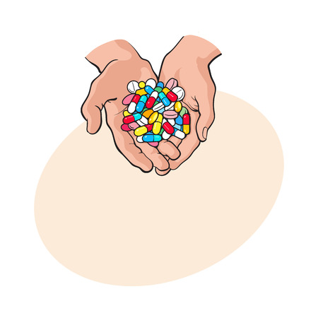 Two cupped hands holding handful, pile of colorful pills, tablets, medicine, sketch style vector illustration with space for tex. Drawing of cupped hands holding handful, pile of pills, medicine