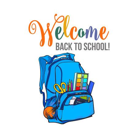 Willkommen zurück zu Schulplakat, Fahne, Postkartendesign mit Rucksack, die Vektorillustration, die auf weißem Hintergrund lokalisiert wird. Willkommen zurück zu Schulplakat, Banner, Kartendesign mit Schultasche Standard-Bild - 76868507