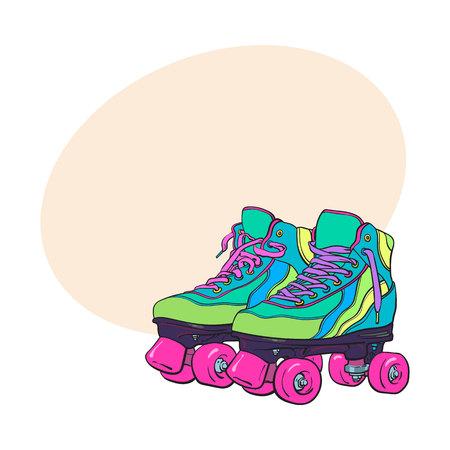 Par de patines retro, quad, estilo boceto, ilustración dibujada a mano con espacio para texto. Dibujado a mano realista, par de estilo boceto de coloridos patines de cuatro patas con cordones rosa