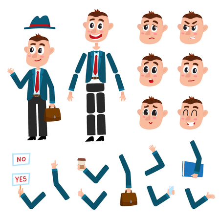 Man character creation set with different gestures and emotions, cartoon vector illustration on white background. Funny man, businessman creation set, constructor, moving arms, legs, changeable face 向量圖像