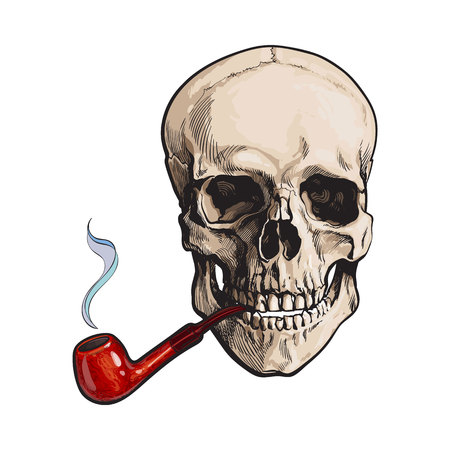 Hand drawn human skull smoking lacquered wooden pipe, sketch style vector illustration isolated on white background. Realistic hand drawing of skull with smoking pipe Stock Vector - 76868514