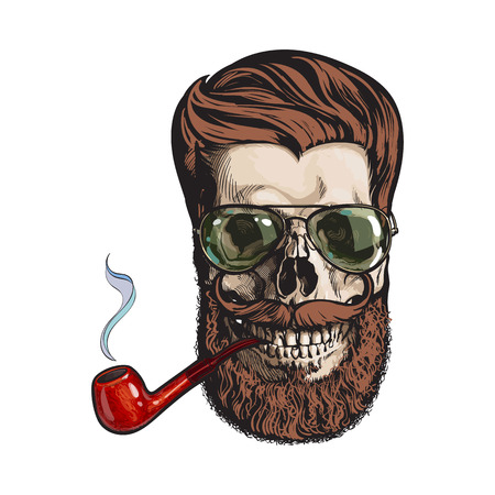 Human skull with red hipster beard, wearing aviator sunglasses, smoking pipe, sketch vector illustration isolated on white background. Hand drawing of human skull with hipster hair, beard and whiskers Illustration