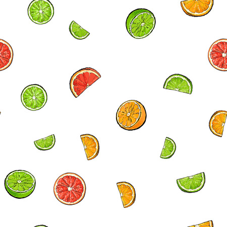 Seamless pattern of whole and cut limes, oranges, grapefruits, textile, backdrop design, sketch vector illustration on white background. Ilustração