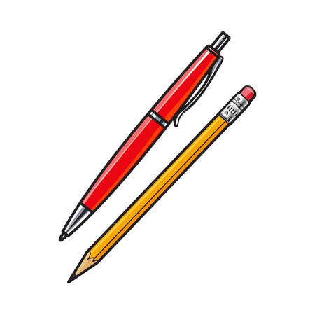 rollerball: Simple hand drawn ball point pen and pencil, office supplies, sketch style vector illustration isolated on white background. Realistic hand drawing of red school pen and yellow graphite pencil