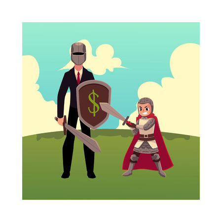 child protection: Businessman as knight with helmet, sword, shield, and his kid, cartoon vector illustration isolated on white background. Modern knight in business and child stands on green grass under summer sky