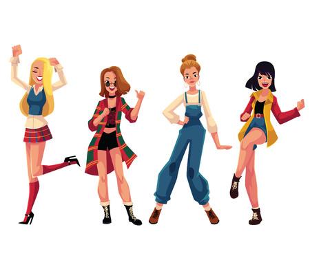 Meisjes, vrouwen in de jaren 1990, kleding van de jaren negentig dansen disco, cartoon vectorillustratie geïsoleerd op een witte achtergrond. Meisjes, vrouwen in kleding in jaren 90-stijl dansen op retro-disco Stockfoto - 76889575