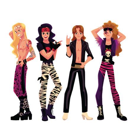 Conjunto de hombres jóvenes, niños, chicos vestidos como estrellas de rock glam, ilustración vectorial de dibujos animados aislado sobre fondo blanco. Retrato de cuerpo entero de estrellas de rock glam, cuero, botas pesadas, pecho desnudo Ilustración de vector