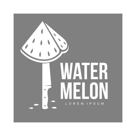 Template with stylized triangular watermelon piece stuck on standing knife, vector illustration isolated on grey background.