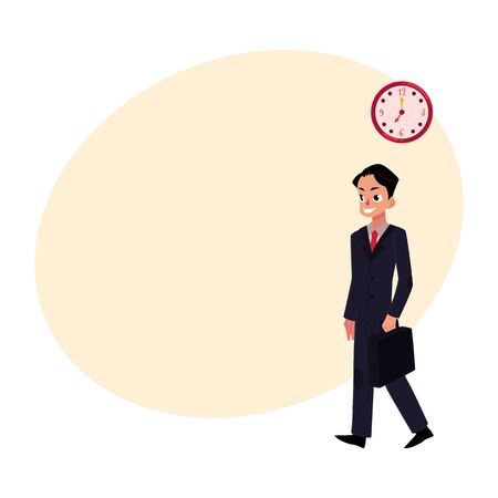 Young ambitious, promising, smiling businessman in business suit holding briefcase, cartoon vector illustration with space for text. Businessman, employee going to work with briefcase