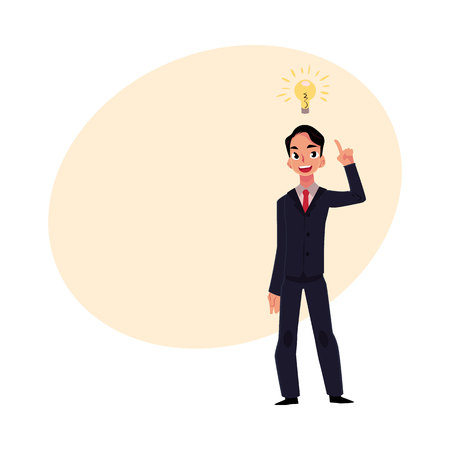 Young businessman having idea, light bulb as symbol of business insight, cartoon vector illustration with space for text. Businessman, employee has just got idea, insight, inspiring thought