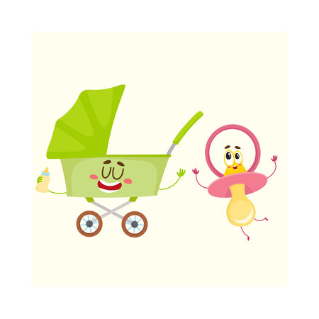 Funny baby cart, stroller, buggy and dummy, pacifier character, newborn accessories, cartoon vector illustration isolated on white background. Baby cart, stroller and dummy, pacifier characters