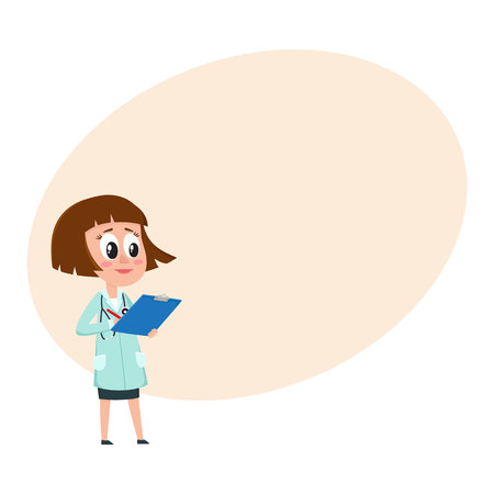Comic woman doctor character writing something into medical record, cartoon vector illustration with space for text. Full length portrait of funny woman doctor holding clipboard