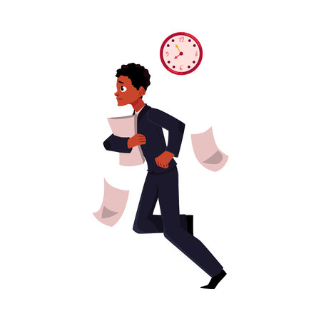 Black, African American businessman hurrying to work, being late, cartoon vector illustration isolated on white background. Black businessman, worker, employee harrying somewhere losing documents