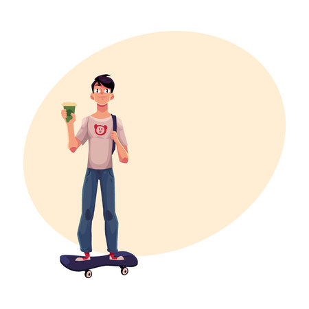 Boy, man in t-shirt and jeans, standing on skateboard, longboard with paper coffee cup, cartoon vector illustration with ? for text. Boy, man riding, standing on skateboard, front view