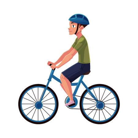 Bicycle, cycle, bike rider, cyclist wearing helmet, side vew, personal transport concept, cartoon vector illustration isolated on white background. Man riding bicycle wearing helmet, healthy lifestyle Illustration
