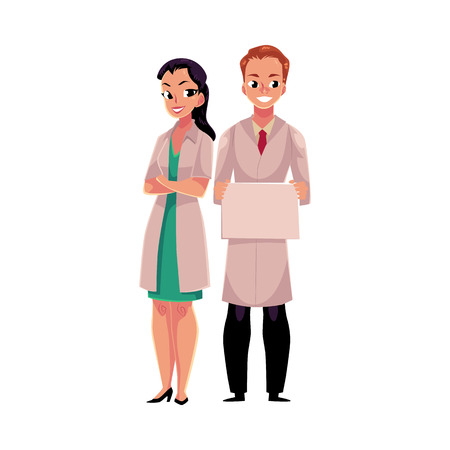 Male and female doctors in white medical coats, woman with folded arms, man holding blank sign, board, cartoon vector illustration isolated on white background. Full length portrait of two doctors Illustration
