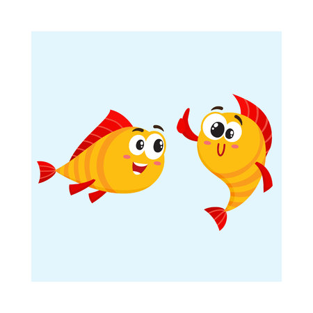 Two funny, smiling golden fish characters, one showing thumb up, another looking with interest, cartoon vector illustration isolated on white background. Smiling yellow fish characters, mascots