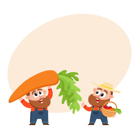 Funny farmer, gardener characters in overalls harvesting vegetables, holding giant carrot, woven basket, cartoon vector illustration with space for text. Comic farmer characters, harvest
