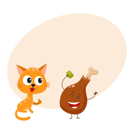 Cute and funny red cat, kitten character looking heartily at chicken stick, drumstick, cartoon vector illustration with space for text. Funny red cat, kitten character and piece of steak Stock Illustratie