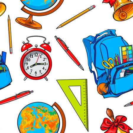Seamless pattern with school items, backpack, globe, bell, clock, sketch vector illustration on white background. Hand drawn school bag bell globe clock seamless pattern, background, backdrop design