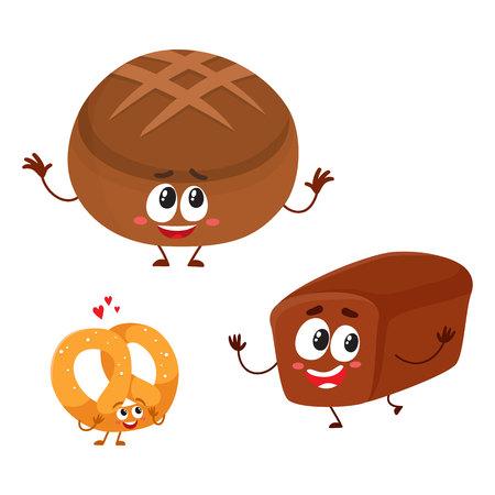 面白いレンガと人間の顔を笑顔で全粒小麦、黒い、茶色のパンの文字の丸いパンは漫画白い背景で隔離のベクトル図です。2 末梢パン パン文字、マ  イラスト・ベクター素材