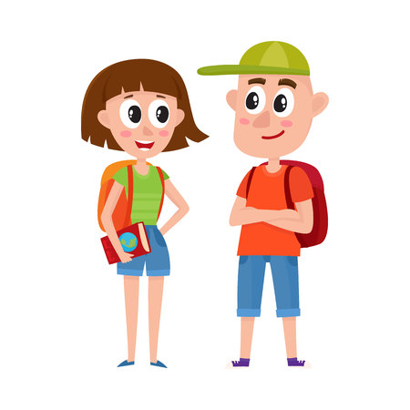 Couple of tourists, man and woman, with backpacks on vacation tour, cartoon vector illustration isolated on white background. Full length portrait of boy and girl tourists travelling together