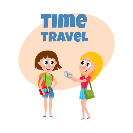 Travel time poster, banner, postcard design with Two pretty girls, women tourists travelling together, one posing to another, making photo, cartoon vector illustration. Illustration