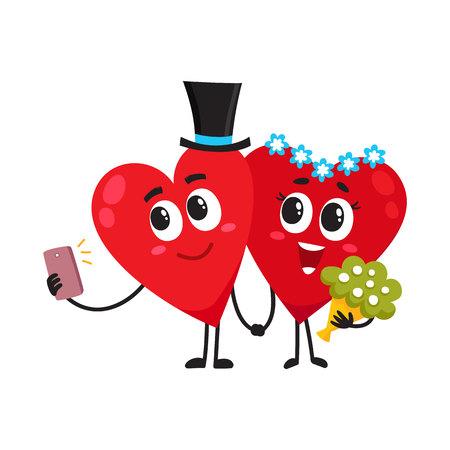 二つの心が新郎新婦に扮した、手を取り合って、selfie、愛のカップルを作り、結婚式の概念、漫画の白い背景の上のベクトル図。結婚式を持つ心の