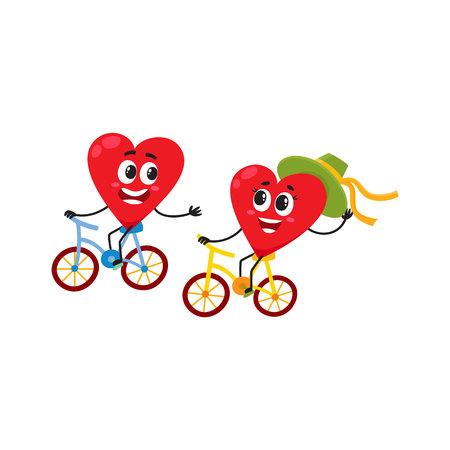 一緒にサイクリング 2 つの心、愛の概念のいくつかは、自転車に乗って漫画白い背景のベクトル図です。面白いカップル楽しんで心の感情、愛自転
