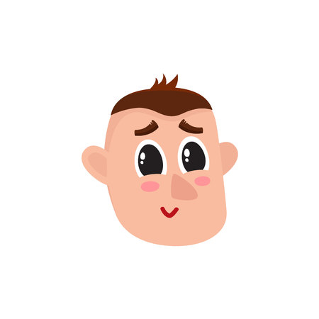 Male head with smiling, greening face, rosy cheeks, big eyes, raised eyebrows, cartoon vector illustration on white background. Funny cartoon male head with shy smiling face expression Illustration