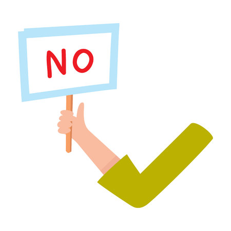 denial: Female arm, hand in business suit sleeve holding NO sign, showing failure, denial, cartoon vector illustration on white background. Funny cartoon male arm showing yes sign, plate