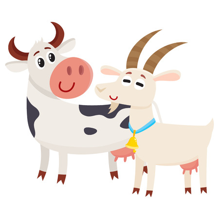 Farm black spotted cow looking at white smiling goat, cartoon vector illustration isolated on white background. Cute and funny farm goat and cow with friendly faces and big eyes