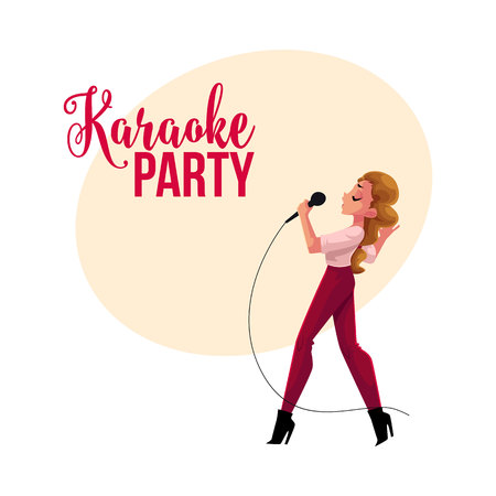 Karaoke party, contest banner, poster, postcard design with female singer, cartoon vector illustration on white background. Karaoke party banner with full length portrait of pretty woman singing