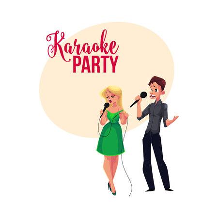 Fête karaoké, bannière du concours, affiche, conception de carte postale avec quelques chanteurs, illustration de vecteur de dessin animé Bannière de fête karaoké avec un homme et une femme chantant ensemble Banque d'images - 77407896