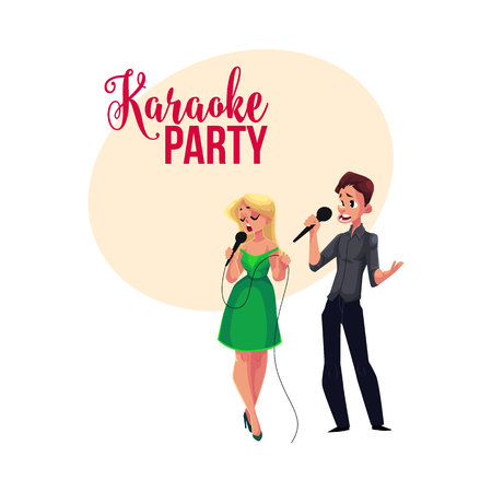 Karaoke party, contest banner, poster, postcard design with couple of singers, cartoon vector illustration on white background. Karaoke party banner with man and woma singing together Çizim
