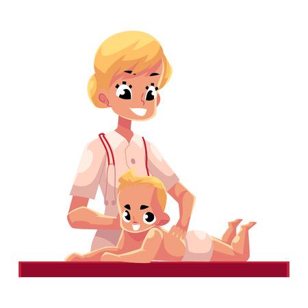 Junge schöne Therapeut tun Baby-Massage, Cartoon-Vektor-Illustration auf weißem Hintergrund. Professionelle weibliche Massage-Therapeut tun Baby-Massage zu Säugling Junge, halbe Länge Porträt Standard-Bild - 77401469