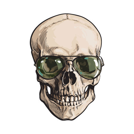 Hand drawn human skull wearing green aviator sunglasses, sketch style vector illustration isolated on white background. Realistic hand drawing of skull wearing sunglasses
