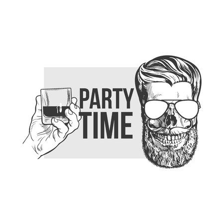 scotch: Black, white party time poster, banner design with hand holding glass of whiskey and hipster style skull, sketch vector illustration. Hand drawn poster with hand holding alcohol shot and hipster skull